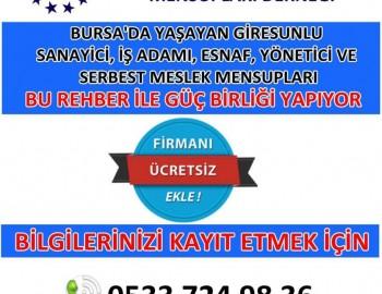 Bursa'da yaşayan Giresunlu Sanayici, İşadamı,Esnaf, Yönetici ve Serbest Meslek Mensupları